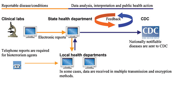 Steps in automated reporting of infectious disease data. The process begins with abstraction of reportable conditions using a software program. Data are stored in a file for future transmission or sent directly to the health department in the case of automated reporting systems. Typically, there are multiple clinical laboratories, and reports are transmitted in a variety of methods including file transfer protocol and dial-up modem at arranged intervals. State health departments review data and