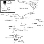 Thumbnail of Map of Torres Strait islands showing areas of scrub typhus transmission, Darnley and Murray Islands, Torres Strait, 2000–2001.