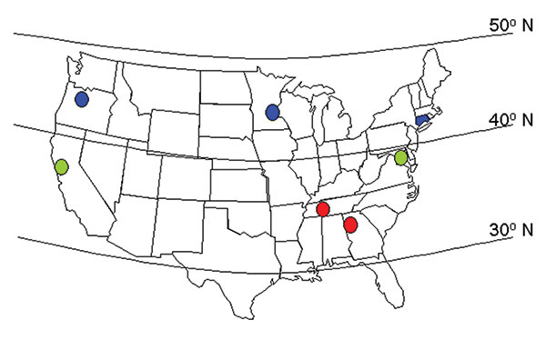 Map of the continental United States showing the approximate locations of the seven surveillance sites, grouped for some analyses as southern sites (illustrated in red), middle sites (green), and northern sites (blue).