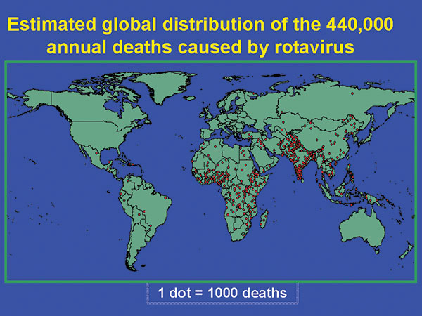 Estimated global distribution of 440,000 annual deaths in children caused by rotavirus diarrhea.