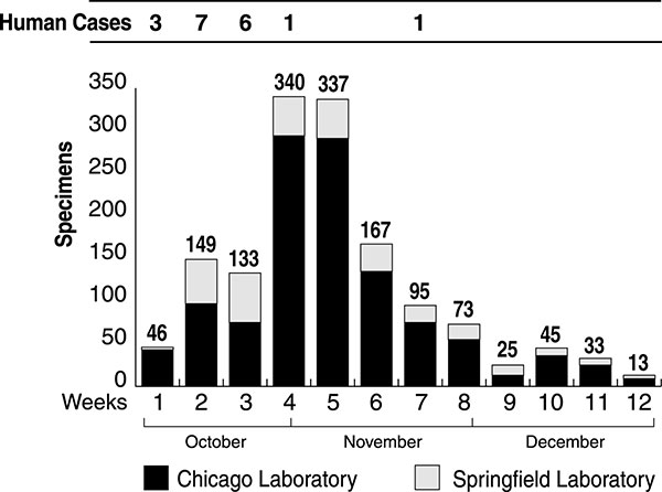 Number of environmental specimens submitted to the Illinois Department of Public Health Division of Laboratories for Bacillus anthracis testing each week from October 8 through December 30, 2001 and number of human cases occurring on the East Coast and reported each week in the news media.