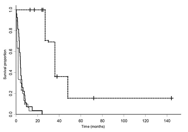 Results of the survival analysis (confidence intervals not shown), showing the proportion of patients surviving over the period from first onset of symptoms for the different groups of patients. The dashed line is the West African dataset from Yorke (28) (vertical bars represent censored observations). The solid line is the 1901–1910 Mengo dataset and the dotted line the Tororo 1988–1990 dataset from Odiit et al. (22).