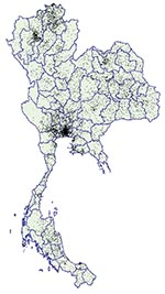 Thumbnail of Dot density map of young men who tested positive for HIV at time of entry into the Royal Thai Army, Thailand, November 1991–May 2000. Each dot represents one man. Location of dots based on recruit's residence during the previous 2 years. Data on recruits entering in November 1993 and May 1994 are not available.