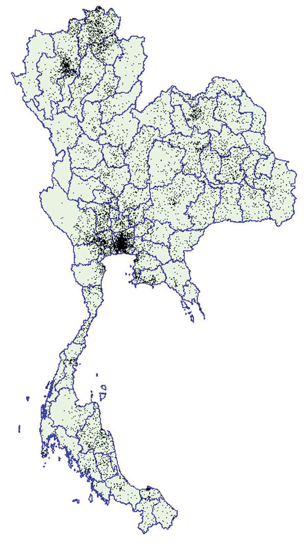 Dot density map of young men who tested positive for HIV at time of entry into the Royal Thai Army, Thailand, November 1991–May 2000. Each dot represents one man. Location of dots based on recruit's residence during the previous 2 years. Data on recruits entering in November 1993 and May 1994 are not available.