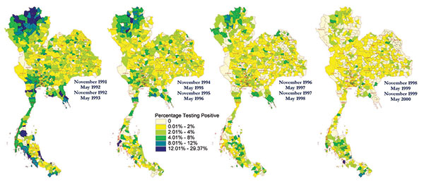 Choropleth maps of HIV prevalence in four classes of young men at time of entry into the Royal Thai Army, Thailand, 1991–2000. Location determined by residence during the previous 2 years. Prevalence is stratified by color and localized to district or group of districts so that calculations are based on >20 men.