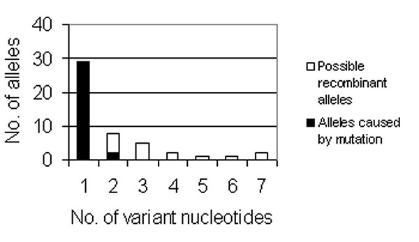 Bar graph of the number of novel alleles (y-axis) with a specific number of nucleotide differences from the ancestral allele. Two alleles with 24-bp and 113-bp differences are excluded from the graph.