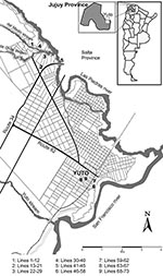 Thumbnail of Localization of rodent trapping sites in Yuto and its surroundings.
