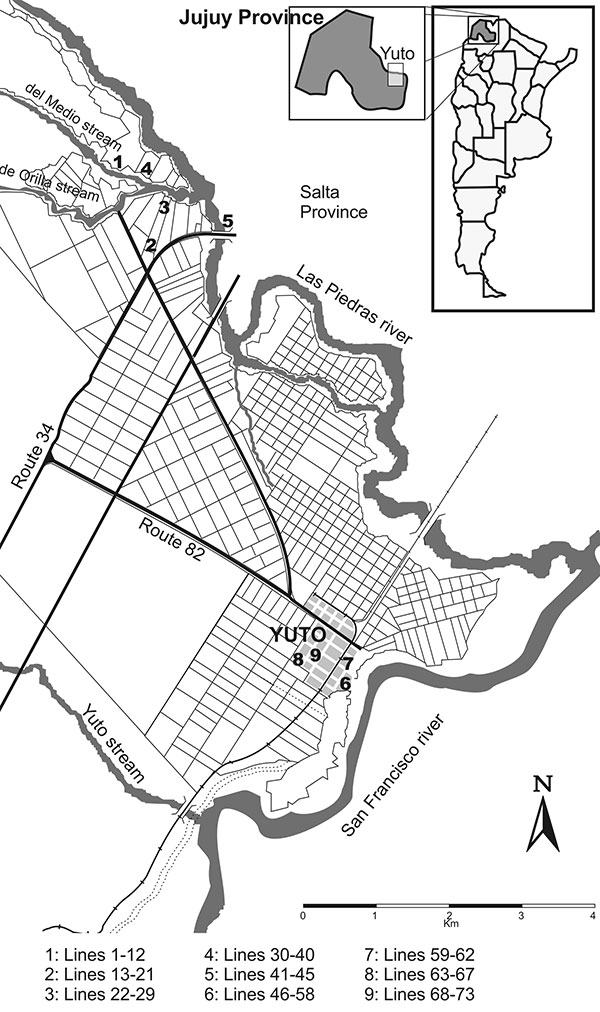 Localization of rodent trapping sites in Yuto and its surroundings.