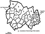 Thumbnail of Distribution map of tick-borne encephalitis (TBE) cases by district, Novosibirsk Region, Russia, summer 1999. Case-patients were defined as persons who died from May 1 to August 15, 1999, and who had serologically confirmed (immunoglobulin M–positive test) tick-borne encephalitis infection.