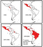 Thumbnail of Map of the spread of dengue virus 3 (DENV-3), subtype III through Latin America and the Caribbean. The introduction of DENV-3, subtype III was first reported in November 1994 in Nicaragua and Panama. This virus strain has been isolated, identified, and reported in at least 16 other countries in the region. *Represents countries with dengue hemorrhagic fever (DHF) caused by DENV-3. These countries are Nicaragua in 1994 and 1998, Brazil and Venezuela in 2001 (Pan American Health Organ