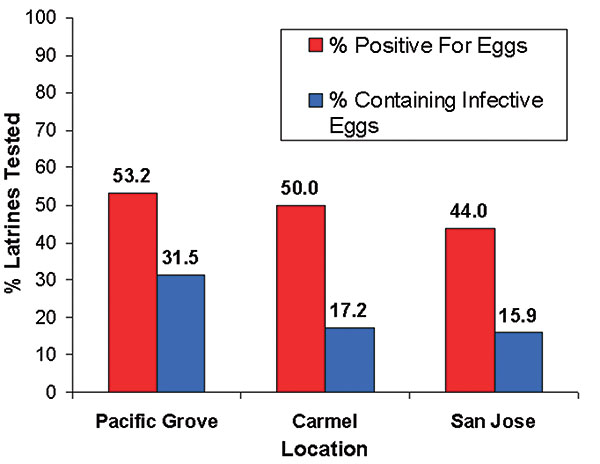 Percentage of raccoon latrines that tested positive for Baylisascaris procyonis eggs and those containing potentially infective eggs (number of latrines = 215).