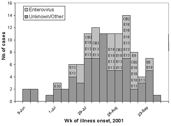 "Aseptic meningitis cases* by week of illness onset, June 1–September 30, 2001, identified at six hospitals, Baltimore, Maryland. *N=112 (illness onset date missing for one patient); Coxsackievirus B2 = ""CB2""; Echovirus 6 = ""E6"", Echovirus 13 = ""E13""; Echovirus 18 = ""E18""; Echovirus 30 = ""E30"""