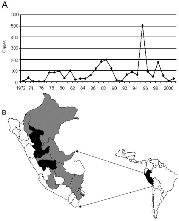 A) Peruvian river basins in which yellow fever virus is endemic. B) Annual incidence of confirmed cases of yellow fever in Peru, 1972–2001.