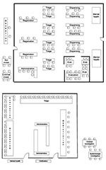 Thumbnail of Two (A, B) point of distribution site floor plans. Epi, epidemiologic; invest, investigation; admin, administration; eval, evaluation; Disp., Dispensing; Reg, registration. B, floor plan of POD proper. The verification, epidemiology investigation, and criminal investigation sections are located before the POD proper. The mental health and briefing sections are also located outside the POD proper.