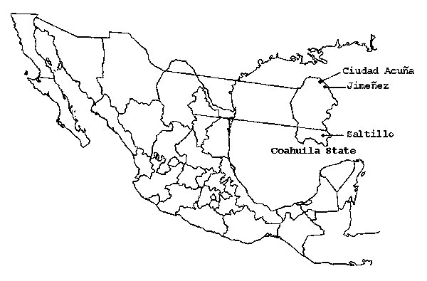 Geographic location of West Nile virus study sites in Coahuila State, Mexico.