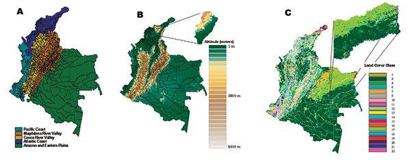 Distribution of a) ecoepidemologic zones, b) elevation, and c) vegetation types in Colombia.