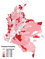 Thumbnail of Predicted risk map for probability of transmission, based on the combination of the regional models.