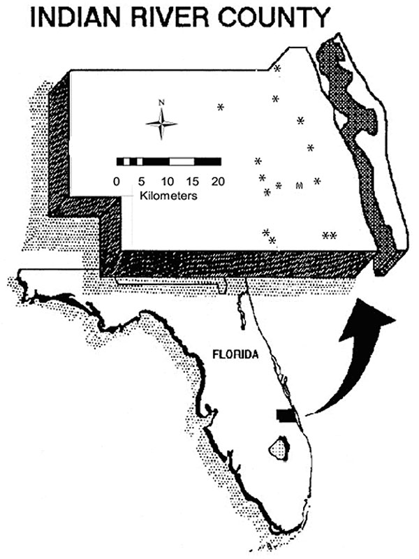 "Map of Indian River County. Asterisks indicate the locations of sentinel chicken flocks. ""M"" is the site of the Vero Beach 4W meteorologic station."