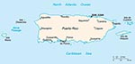 Thumbnail of Map of the Commonwealth of Puerto Rico. Nonhuman primates were originally introduced in the southwestern coast, near Guánica.