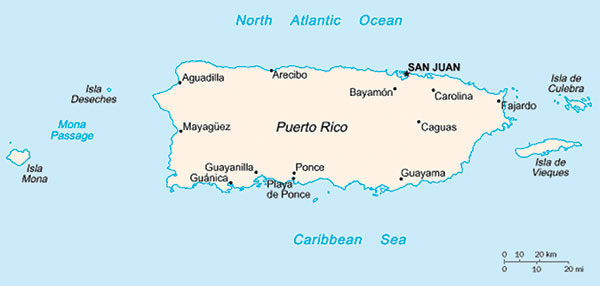 Map of the Commonwealth of Puerto Rico. Nonhuman primates were originally introduced in the southwestern coast, near Guánica.