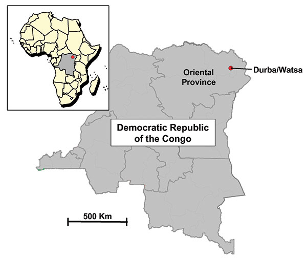 Map of the Democratic Republic of the Congo indicating the neighboring villages of Durba and Watsa, the epicenter of the 1998–1999 outbreak of Marburg hemorrhagic fever.