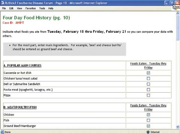 Abbreviated food history data entry screen.