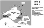 Thumbnail of Cases of Mycobacterium ulcerans occurring in areas of Victoria (southeastern Australia), where disease is nonendemic, January 1990–August 1998.