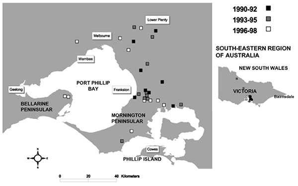 Cases of Mycobacterium ulcerans occurring in areas of Victoria (southeastern Australia), where disease is nonendemic, January 1990–August 1998.