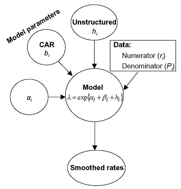 Schematic diagram of the conditional autoregressive smoothing model.
