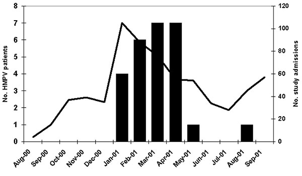 Distribution of HMPV patients and overall study admissions by month of admission, New Vaccine Surveillance Network acute respiratory illness study, Aug 2000–Sept 2001. Black bars represent HMPV-positive patients, while the line represents study admissions.