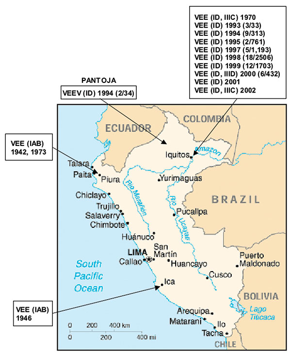 Map of Peru showing the geographic distribution of the Venezuelan equine encephalitis virus (VEEV) complex isolates included in the study. Numbers in parenthesis indicate the number of isolates compared to the total number of febrile cases during the year. ID, IAB, IIIC, IIID correspond to VEEV subtypes isolated during the indicated year.