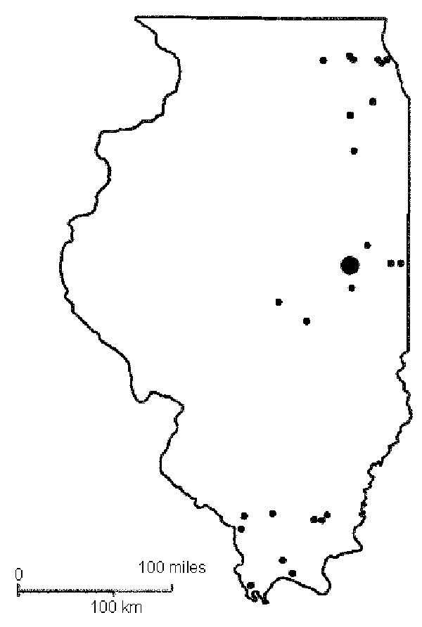 Geographic locations of the study sites in the avian serologic survey for West Nile virus infection, Illinois, 2002.