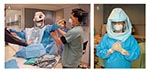 Thumbnail of A, T4 Stryker suit being applied with aid of assistants. Healthcare worker in T4 Stryker suit. Photos provided by Randy Wax and Laurie Mazrik, Ontario Provincial SARS Biohazard Education Team.