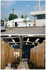Thumbnail of Tent assessment clinic built on ambulance loading dock for assessment of the general public for any symptom suggestive of severe acute respiratory syndrome. A, 40- x 20-foot tent constructed on the ambulance bay of the emergency department provided a spacious waiting area adjacent to the clinic area; B, inside the tent, eight cubicles were constructed with metal pipe frames and thick plastic walls, each ventilated with a custom-built ventilation system.