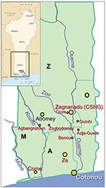 Thumbnail of Map of Benin with the four Buruli ulcer–endemic Regions: the Region of Zou (Z), the Region of Atlantique (A), the Region of Mono (M), and the Region of Oueme (O).
