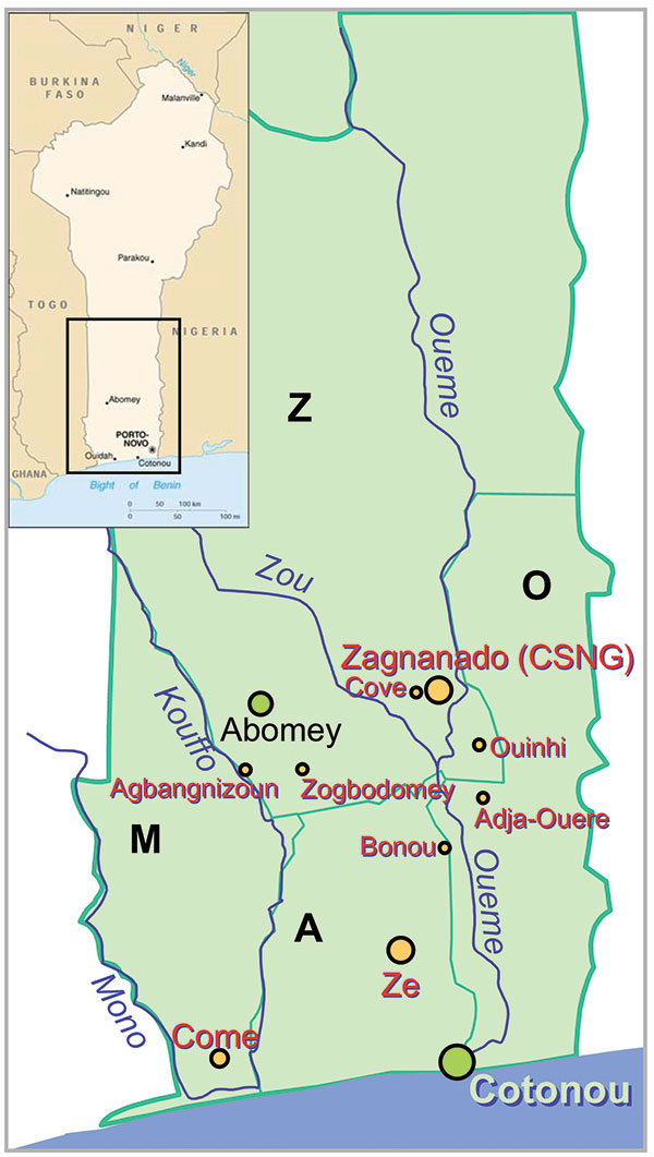 Map of Benin with the four Buruli ulcer–endemic Regions: the Region of Zou (Z), the Region of Atlantique (A), the Region of Mono (M), and the Region of Oueme (O).