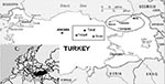 Thumbnail of Geographic distribution of patients with Crimean-Congo hemorrhagic fever (CCHF), Turkey, 2002–2003. Residency of the patients with CCHF infection from our series is marked in the circle. Epicenter of a concurrent outbreak presented at the recent conference in Ankara is shown as a rectangle.