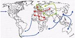 Thumbnail of Geographic origin and routes of spreading of three historical plague pandemics labeled in red (Justinian plague), green (Black Death), and blue (modern), according to historical transcriptions reviewed in Perry (2).