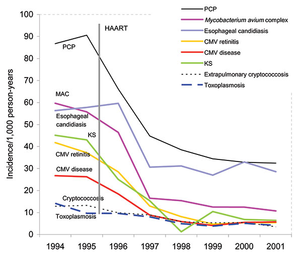 Yearly opportunistic infection rates per 1,000 person-years, CDC Adult and Adolescent Spectrum of Disease Project, 1994–2001 CMV, cytomegalovirus; HAART, highly active antiretroviral therapy; KS, Kaposi sarcoma; MAC, Mycobacterium avium complex; PCP, Pneumocystis pneumonia. Data are standardized to the population of AIDS cases reported nationally in the same year by age, sex, race, HIV exposure mode, country of origin, and CD4+ lymphocyte count.