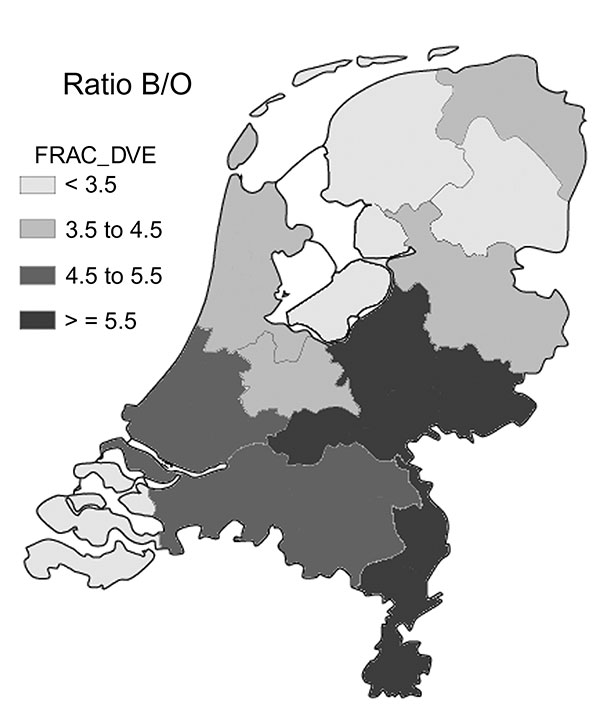 Distribution of the ratio of serogroup B to other serogroups (Ratio B/O) per province in the Netherlands (1993–2001).
