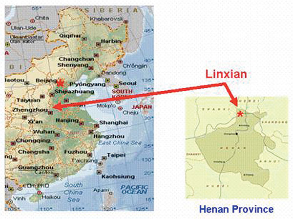 Eastern part of China showing the locations of Linxian and Henan Provinces. Adapted from www.Expedia.com.