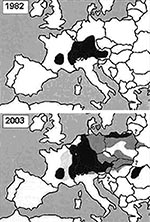 Thumbnail of Distribution of Echinococcus multilocularis in Europe (1,2,4, this study). Black areas: Infection was reported in men, foxes and or rodents. Dark gray areas: Infection was described only in foxes and or rodents. Light gray areas: Only human cases were noted. White areas: E. multilocularis free territories. Question marks: The presence or appearance of the parasite is projected. Note: The prevalence of infection in foxes is similar in the majority of the affected countries.