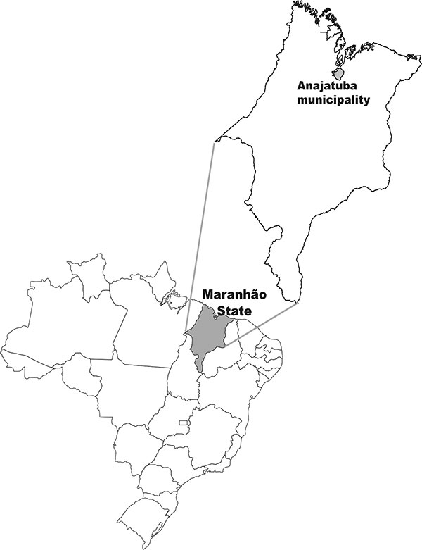Map showing Anajatuba municipality, Maranhão State, Brazil.