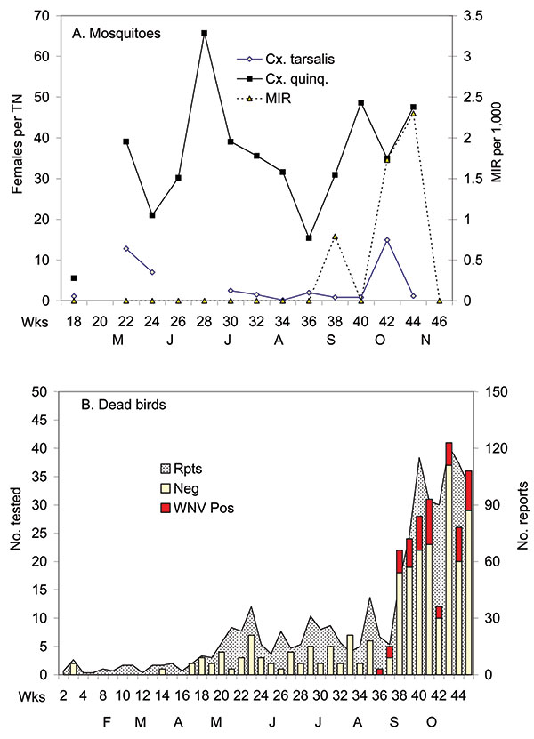 Virus temporal dynamics in relation to Culex abundance in the Whittier Narrows area of Los Angeles County. Shown are (A) female Cx. tarsalis collected per CO2 trap night (TN) and female Cx. p. quinquefasciatus collected per gravid TN, West Nile virus (WNV) minimum infection rates (MIR) per 1,000 Cx. p. quinquefasciatus tested, adjusted for differential sample sizes, and (B) number of dead birds reported, tested, and positive for WNV in Los Angeles County.