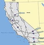 Thumbnail of Road map of California. Arrows indicate the points of entry of main U.S. highways into California from the East.