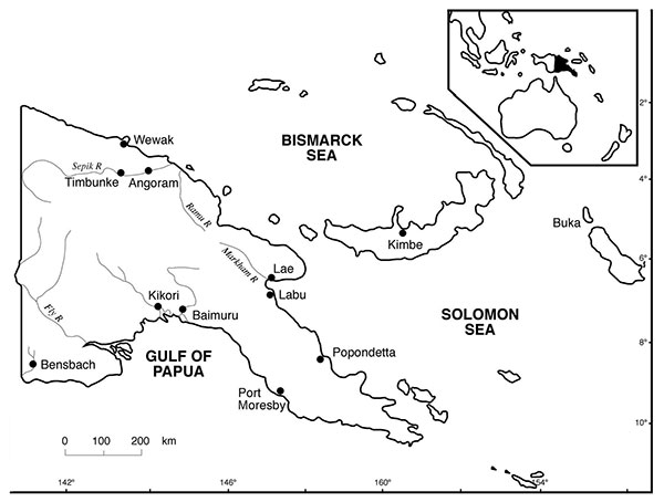 Papua New Guinea showing the areas of origin of the 72 wild-born saltwater crocodiles (Crocodylus porosus): 1 each from Baimuru, Angoram, Timbunke, Kimbe, Bensbach River, and Buka; 2 from Labu; 7 from Wewak; 7 from Popondetta; and 50 from Kikori.
