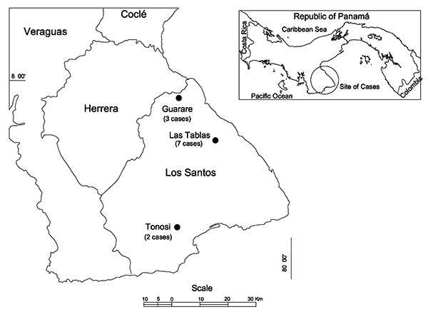 Location of districts in Los Santos Province, Republic of Panama, in which hantavirus cases occurred in 1999 and 2000.