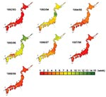 Thumbnail of Timing of peak influenzalike illness epidemic activity by week in Japan. The isobars on the contour maps represent interpolated time of peak activity distributed spatially at 1-week intervals. The first week was defined when the peak week was observed first in any one of the prefectures in each season, and then the following weeks were numbered.