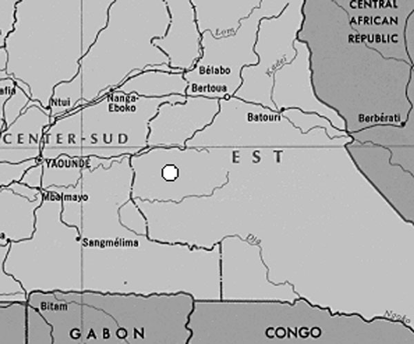 Detail of map of Cameroon.