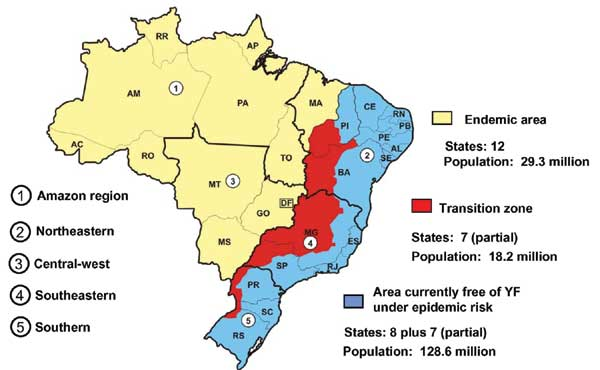 Regions where yellow fever is endemic in Brazil.